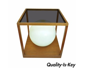 Vintage Mid Century Danish Modern Teak Smoked Lucite Acrylic Cube Table Desk Lamp Retro Atomic Era