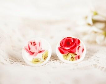 Red Rose Earings, Rose Stud Earings, Post Earings, Flower Earings, Red Rose Earring, Pink Rose Earrings, Floral Earings
