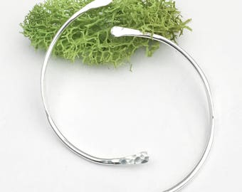 Curved Silver Earrings - Long Sterling Silver Studs - Hammered Silver Stud Earrings - Unique Silver Jewelry - Curved Bar Earrings