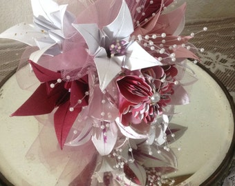 Origami Lily Bouquet With 10 Handfolded Flowers OOAK