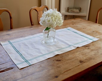 European Table Runner or Kitchen towel with Green Stripes - Authentic