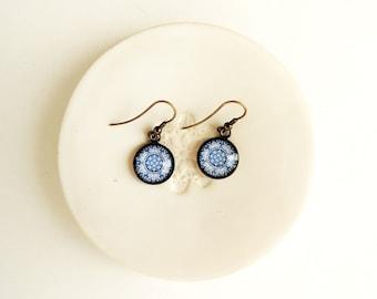 Healing Earrings Portuguese Jewelry Blue PORTUGUESE Mandala Earrings Jewerly with Meaning Dangle Earrings Healing Jewelry Mandala Jewelry