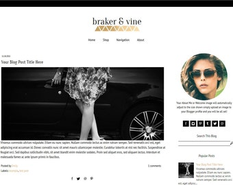 Blogger Template - Gold Blogger Template - Fashion Blog Template - Mobile Responsive - Braker