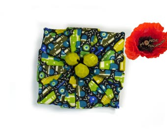 Liberty fabric origami flower Crystal beads brooch