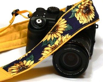 Sunflowers Camera Strap. DSLR SLR Mirrorless Camera Strap. Canon Nikon Camera Strap. Blue Yellow camera strap. Camera Accessories