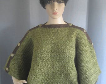 Crochet Poncho with Art Deco-Style Brass Buttons
