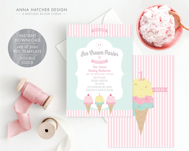 Ice Cream Birthday Party Invitation Ice Cream Parlor