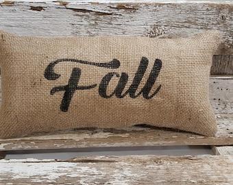 """Burlap Fall Pillow 6"""" x 13"""" Stuffed Burlap Pillow Fall Rustic Farmhouse Holiday Decor"""