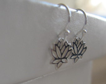 Tiny lotus flower sterling silver earrings for charity