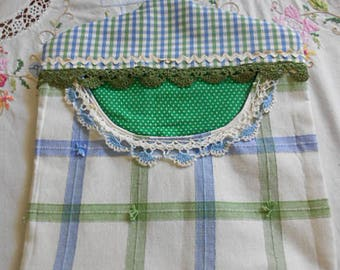 Summer BLUE GREEN & WHITE Clothespin Bag Fresh Air Line Drying Vintage Lace Trim Rick Rack Roomy Pocket Sturdy Handmade, Pinch Pegs Hanger