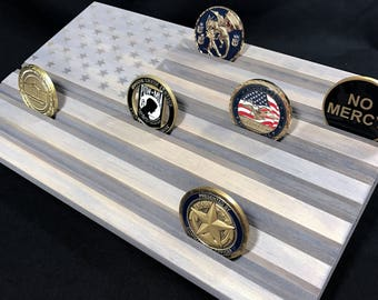 Gray Wood Flag - Challenge Coin Display - American Flag - Customizable - Personalized