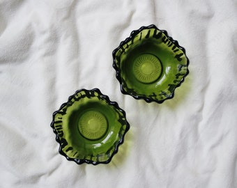 Vintage Floral Avocado Green Glass Bowls Set of Two