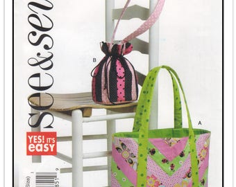 BUTTERICK Pattern B 5596 - Rectangular Tote Bag or Round Drawstring Bag to Sew - Purse Handbag Tote Carryall - One Size - Uncut/FF