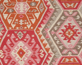 Longrock Canyon Rose Fabric by P Kaufmann, Kilim Style Fabric, Aztec Drapery Fabric, Boho Fabric,  - by the 1/2 yard - SHIPS FAST