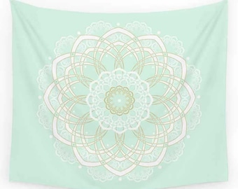 Mint Green Tapestry, Mandala Tapestry, Mint Gold Tapestry, Wall Tapestry Hanging, Bohemian Decor, Boho Tapestry, Dorm Decor, Dorm Tapestry