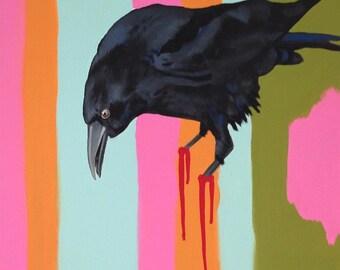 """Original Bird Painting. American Crow. """"No where to Land"""" series."""