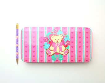Vintage 1995 Sanrio Pink Teddy Bear & Flower Bouquet Metal Pencil Box and Pencil Set - Made in Taiwan / Japan