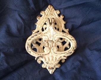 Antique French shabby chic cast iron door knocker.