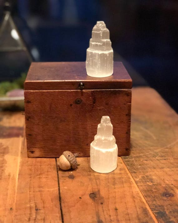 "Tiny Selenite Tower 2.5"" Small Selenite Point, Selenite Wand, Raw Selenite, Carved Selenite, Bohemian Decor, Feng Shui Crystal, Crystal Grid"