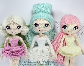 PATTERN 3-PACK: Althaena, Chrysanna, and Luciella Fairy Crochet Amigurumi Dolls
