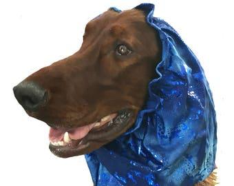 Dog Snood, custom dog snood, dog grooming, spandex dog snood, made of fun swimsuit fabric to keep ears clean