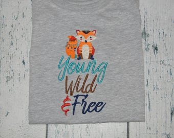 Personalized Tribal YOUNG WILD & FREE Shirt  -  Tribal Arrow Fox Shirt with Monogram Name Added