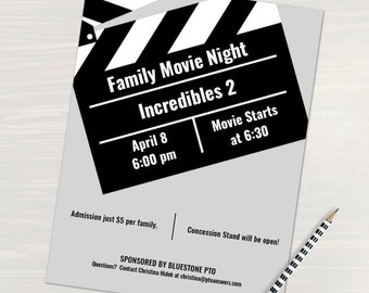 movie night flyer word template and pages template for pta pto church and other