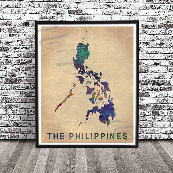 Vintage Philippines Map PRINT Watercolor painting Filipino