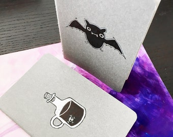 Personalized Custom Halloween Design Small Pocket Size Plain Page Notebook, Journal, Sketchbook - Cute Bat, Potion Glass Bottle With Skull