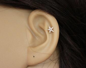 Sterling silver starfish stud earring, starfish earring, star cartilage, star tragus earring, cartilage earring, tragus stud