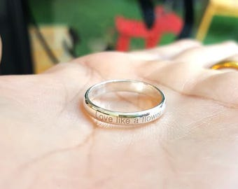 Personalized Ring - Inspiration Ring - Custom Name Rings - Gift for Mom - Silver Engraved Ring - Stacking Ring - Engraved Wedding