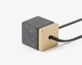 Minimal Necklace Minimalist Pendant Concrete Jewelry Concrete Cube Necklace For Men And For Women