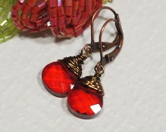Glass Drop Earrings Red Briolette Earrings Copper Earrings
