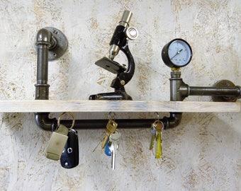 industrial shelf, rustic shelf, pipe shelf, industrial pipe