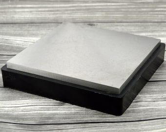 "Steel BENCH BLOCK, Extra Large 6"" x 6"" Square Steel Block with Rubber Base, Metal Forming Jewelry Making Tool"