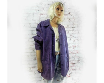 women's leather coat - purple coat -vintage suede coat - 70's suede jacket - Boho coat -  # 111