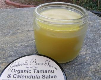 Tamanu Calendula with Calendula Infused in Organic Sunflower Oil - Herbal Salve in Glass Jar - Tamanu Balm