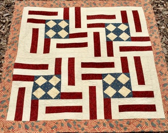 Patriotic Throw Quilt Blanket  in Red, White and Blue, Americana Lap quilt, Americana Blanket Quilt, Couch Throw Patriotic, Quiltsy Handmade