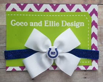 Indianapolis colts bow heaband/indy colts baby/colts headband/baby colts/indianapolis colts baby girl shower gift/indy colts bow/girl colts