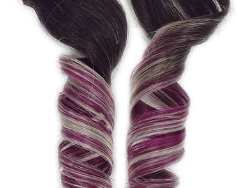 READY TO SHIP #1b Clip in Rainbow Ombre Human Hair Extensions Magenta Red Purple Pink and Silver Ombre Hair For Mermaid Unicorn Hairstyles