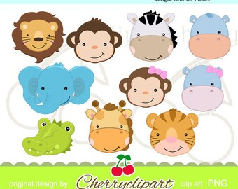 Cute Jungle Animal Faces digital clipart set  for-paper crafts,card making,scrapbooking,and web design