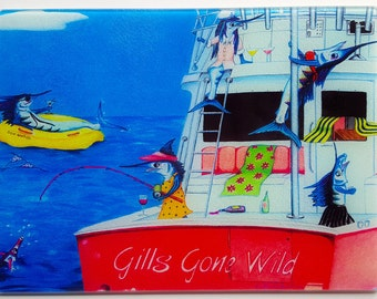 Gills Gone Wild glass Cutting Board ladies fishing sailfish Pink Party Boat Wine Serving Tray