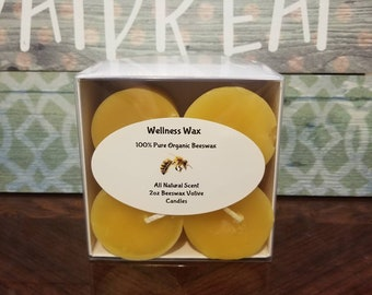 Beeswax votive candles. 4-16 pure organic yellow beeswax votives. Natural Honey (unscented) Vanilla or Lavender essential oil scents.