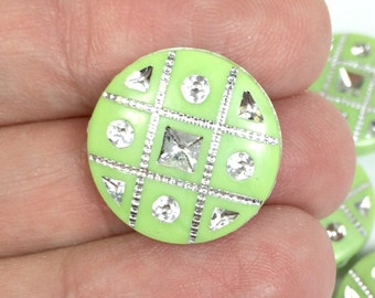 10 Lime Green & Silver Round Coin Disc Acrylic Beads 18mm (10)