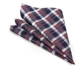 Navy and pink plaid pocket square for boys and men
