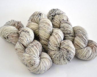 Hand dyed yarn pick your base - Salt & Pepper - sw merino cashmere nylon fingering dk worsted