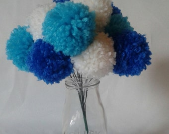 12 mixed yarn pom pom flowers. Blue, turquoise, and white. Pom pom bouquet centerpieces. Wedding/ baby shower decorations
