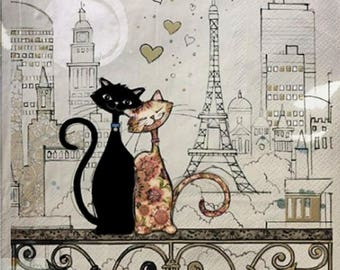 388 COUPLE of cats on the BALCONY 1 towel paper Jane Crowther 33 X 33 X 4 design