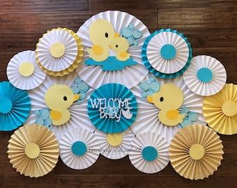 Ducks Baby Shower Backdrop, Baby Shower Rosettes, Gender Reveal Party