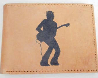 """Mankind Wallets Men's Leather RFID Blocking Billfold with """"Guitar Player"""" Image~Makes a Great Gift!"""
